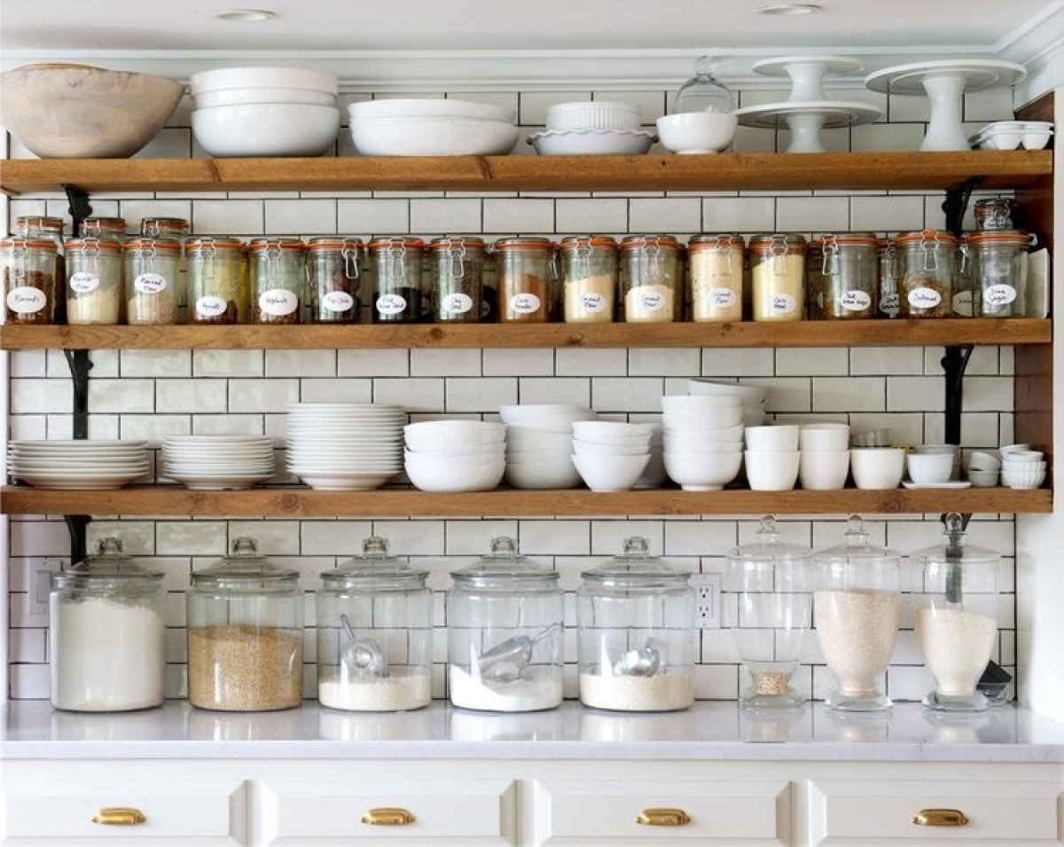 Open Shelving In The Kitchen Is My Favorite! Not Only Is It Stunning, I  Find It Incredibly Convenient. I Love Using Oversized Mason Jars For Flour,  Sugar, ...